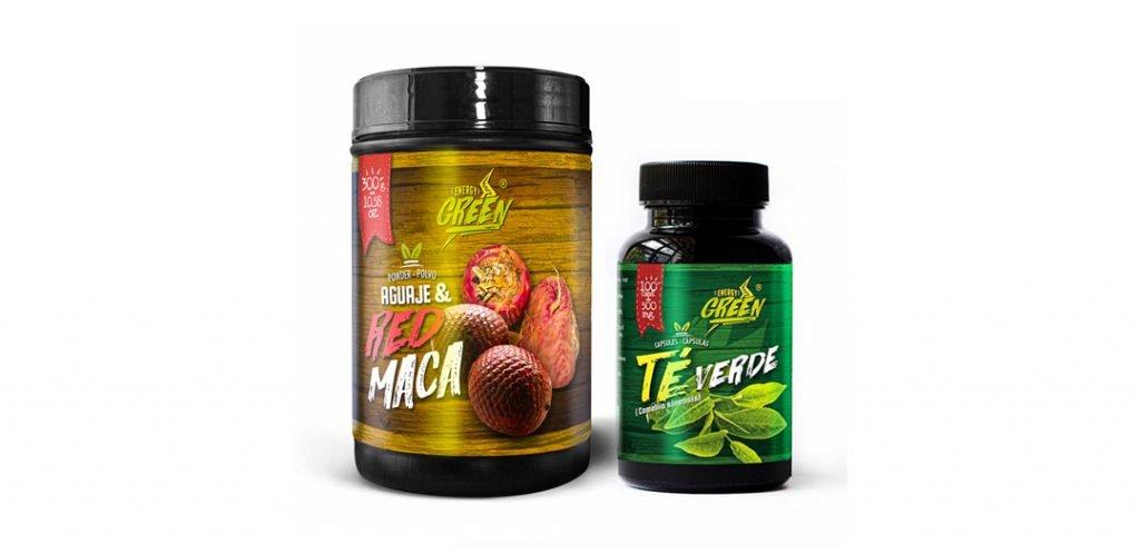 Green Tea capsules and Aguaje + Red Maca Powder