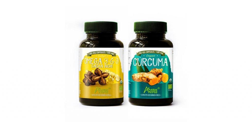 Cápsulas de aceite de sacha inchi y cúrcuma en capsulas
