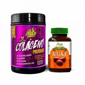 Colágeno hidrolizado en premium polvo y aguaje en cápsulas)
